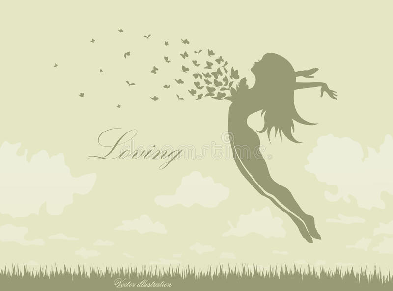 Девушка с бабочками в скачке иллюстрация штока