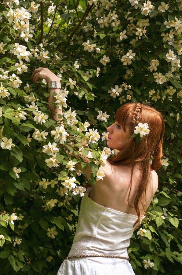 Девушка с белыми цветками стоковая фотография rf