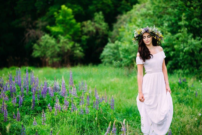 Девушка с венком wildflowers на ее головных прогулках стоковая фотография