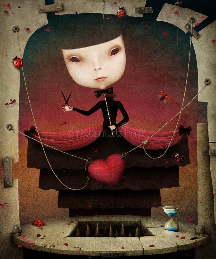 Девушка с веревочками иллюстрация штока