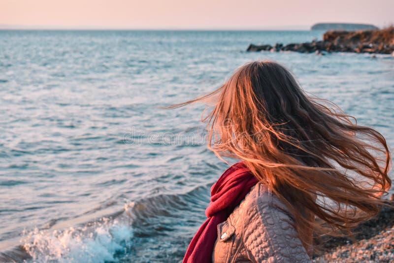 Девушка с волосами дуя в ветре стоковые фотографии rf