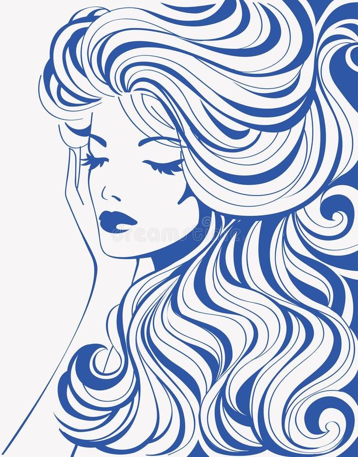 Девушка с волнистыми волосами бесплатная иллюстрация