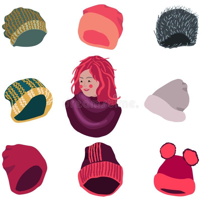 Девушка с выбором headwear зимы иллюстрация штока