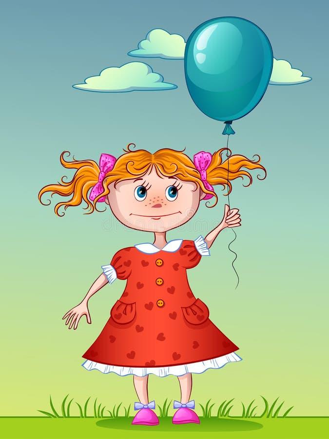 Девушка с голубым воздушным шаром иллюстрация вектора