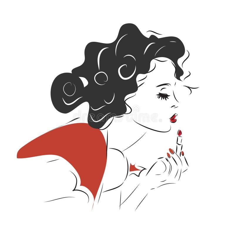 Девушка с губной помадой иллюстрация штока