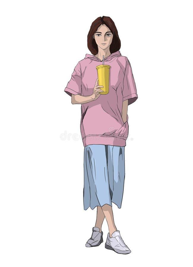 Девушка с девушкой ¼ ŒA cupï кофе наслаждается ее питьем стоковое фото