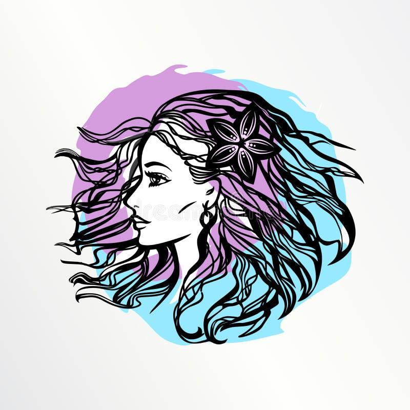 Девушка с дутыми волосами иллюстрация вектора