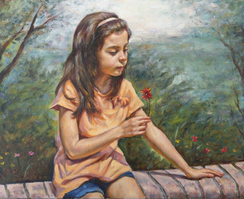 Девушка с ее маленьким цветком стоковые фото