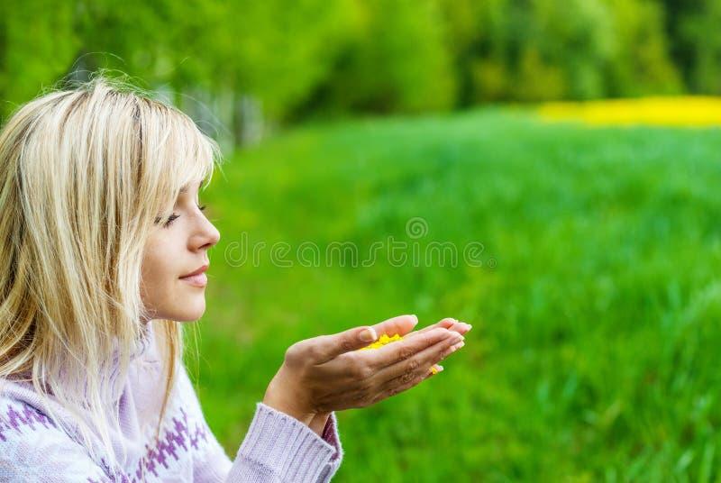 Download Девушка с лепестками цветка Стоковое Изображение - изображение насчитывающей дуя, рука: 41662387