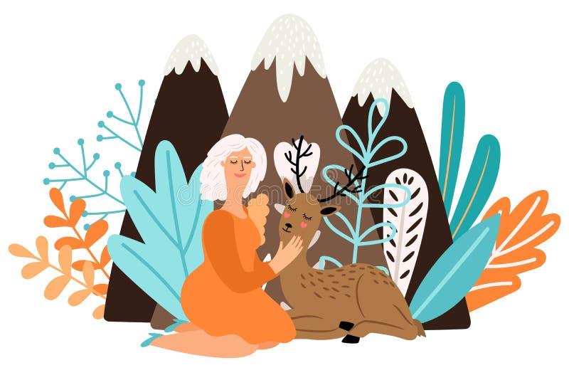 Девушка с животным оленей Женщина мультфильма милая с красивыми оленями младенца в иллюстрации вектора леса иллюстрация штока