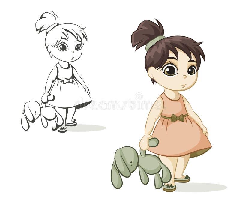 Девушка с зайчиком игрушки иллюстрация вектора