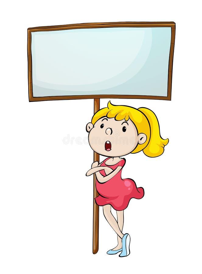Девушка с знаком иллюстрация штока