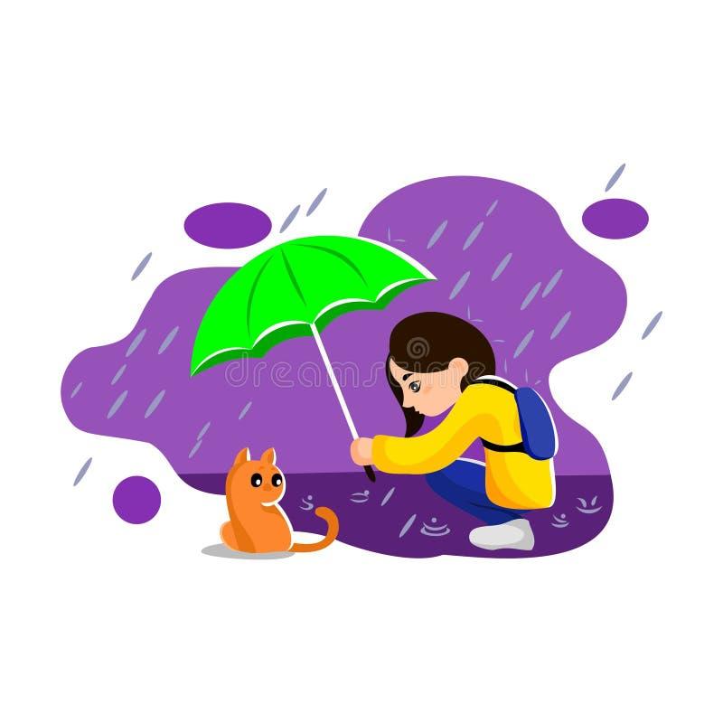 Девушка с зонтиком бесплатная иллюстрация