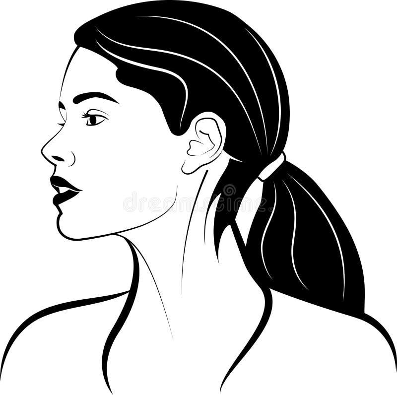 Девушка с кабелем Главный профиль r стоковое фото rf