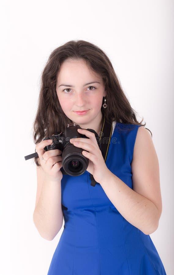 Девушка с камерой стоковое фото