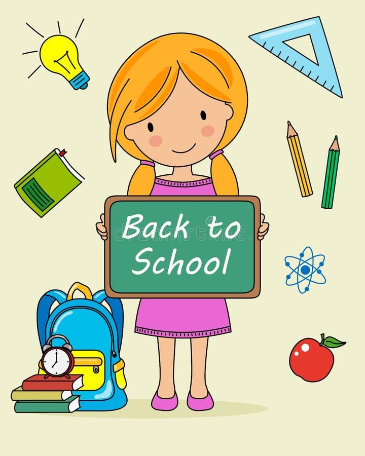 Девушка с классн классным и объекты для школы бесплатная иллюстрация