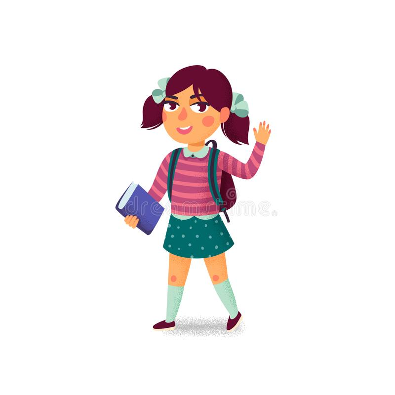 Девушка с книгой и рюкзаком на белой предпосылке счастливый студент Зрачок начальной школы Жизнерадостная молодая дама Назад к иллюстрация вектора