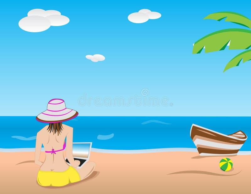 Девушка с компьтер-книжкой на пляже иллюстрация вектора