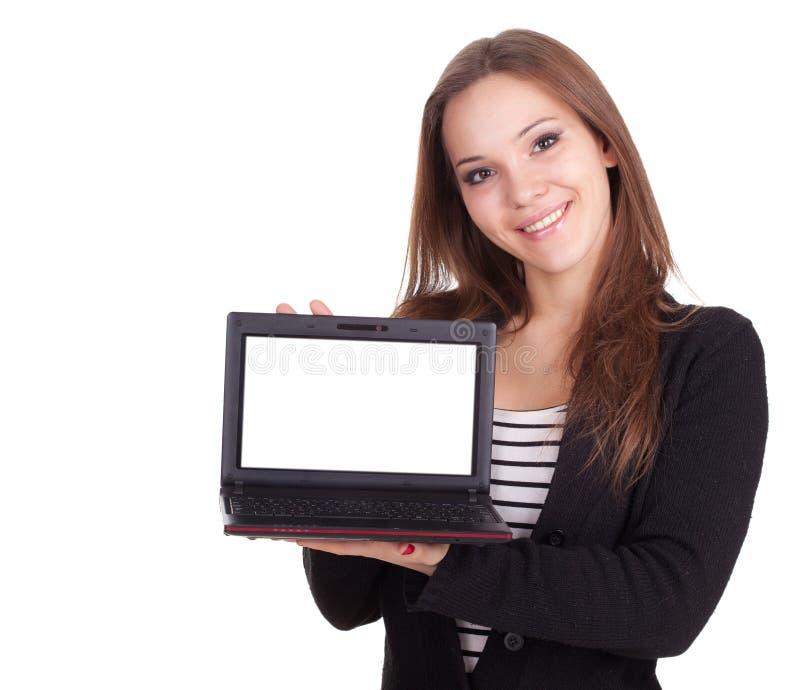 Девушка с компьтер-книжкой стоковое фото