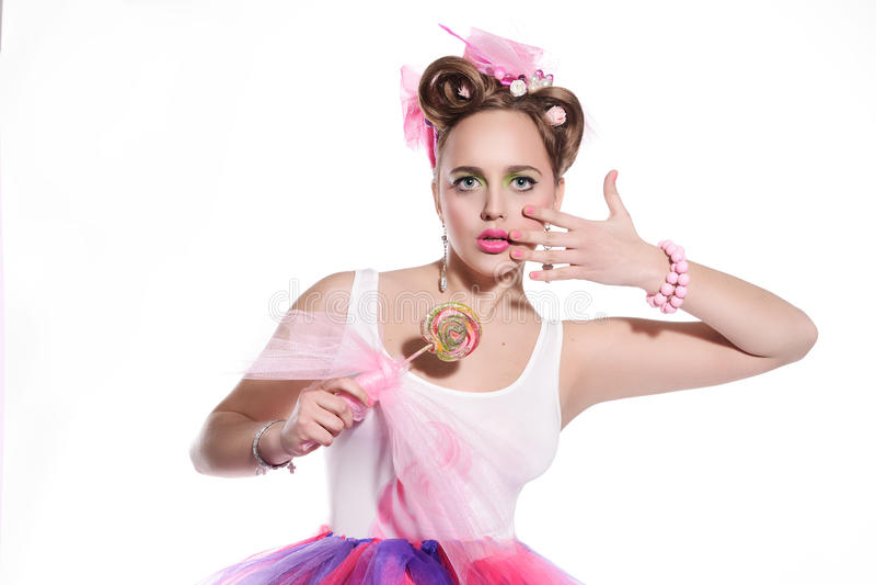 Девушка с конфетой стоковое фото rf