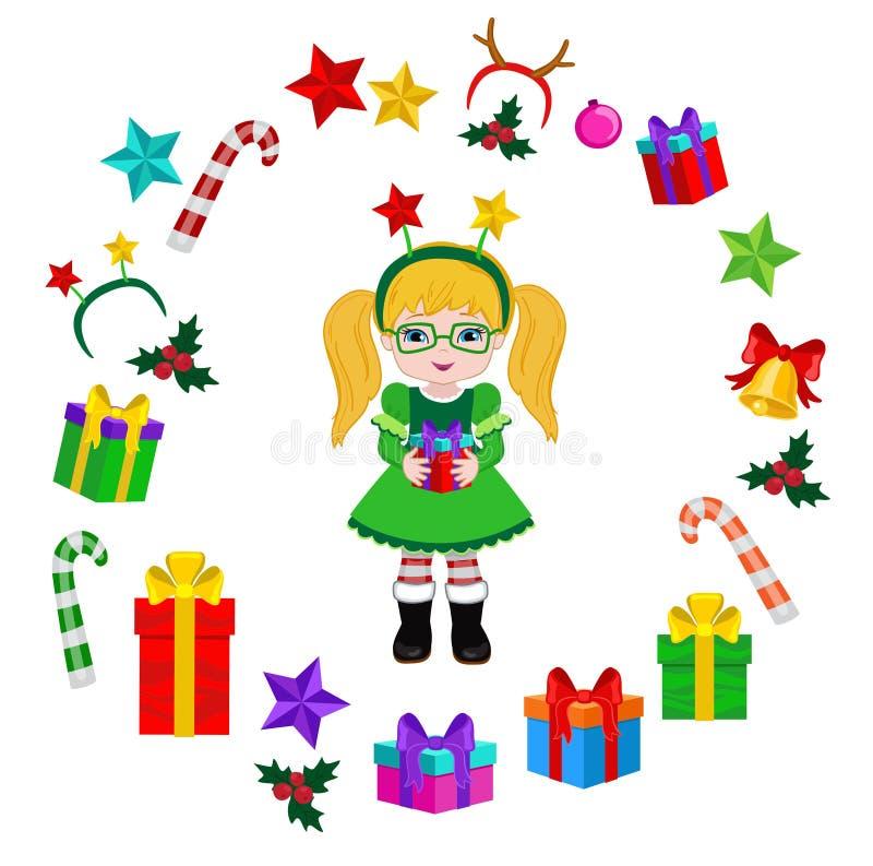 Девушка с костюмом рождества и круглой рамкой иллюстрация вектора