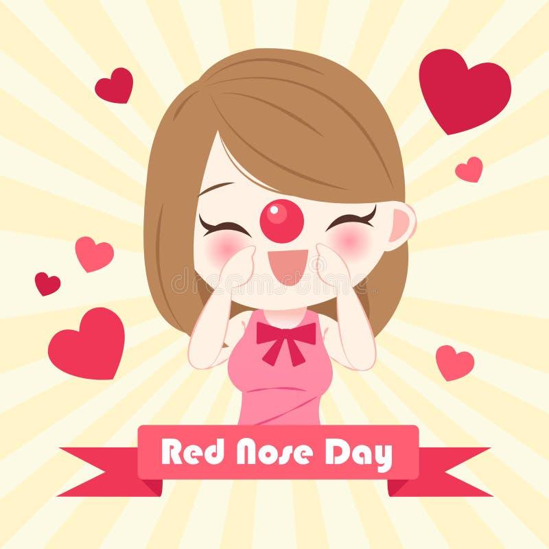 Девушка с красным днем носа иллюстрация вектора