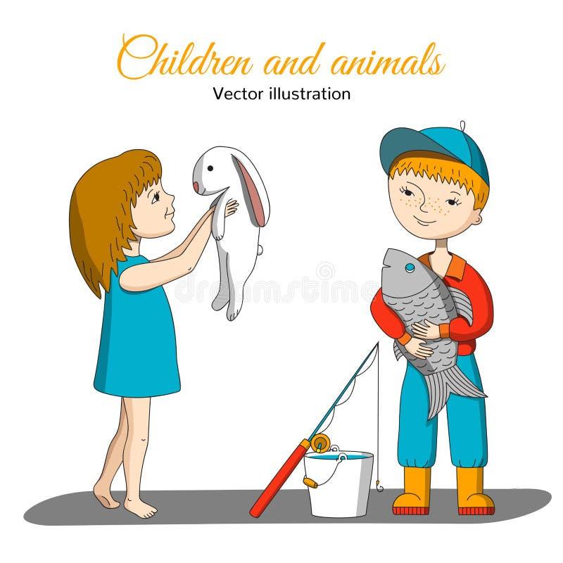 Девушка с кроликом и мальчиком с рыбами иллюстрация вектора