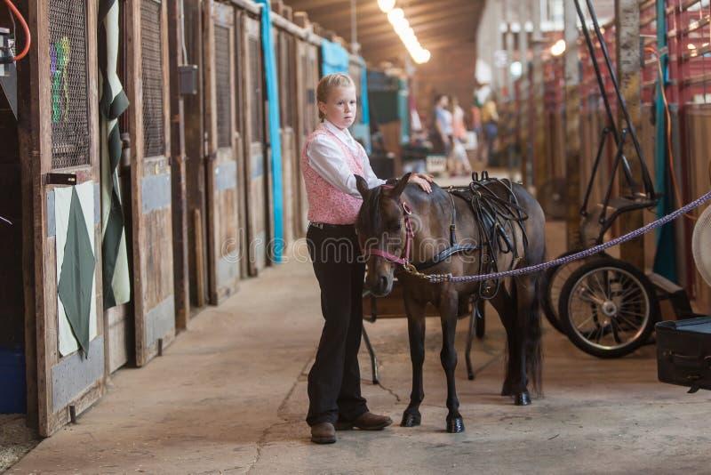 Девушка с миниатюрной лошадью на положении справедливом стоковое изображение rf