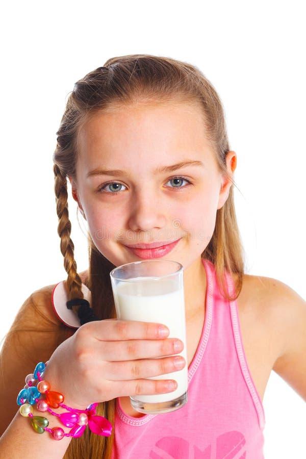 Девушка с молоком стоковое изображение