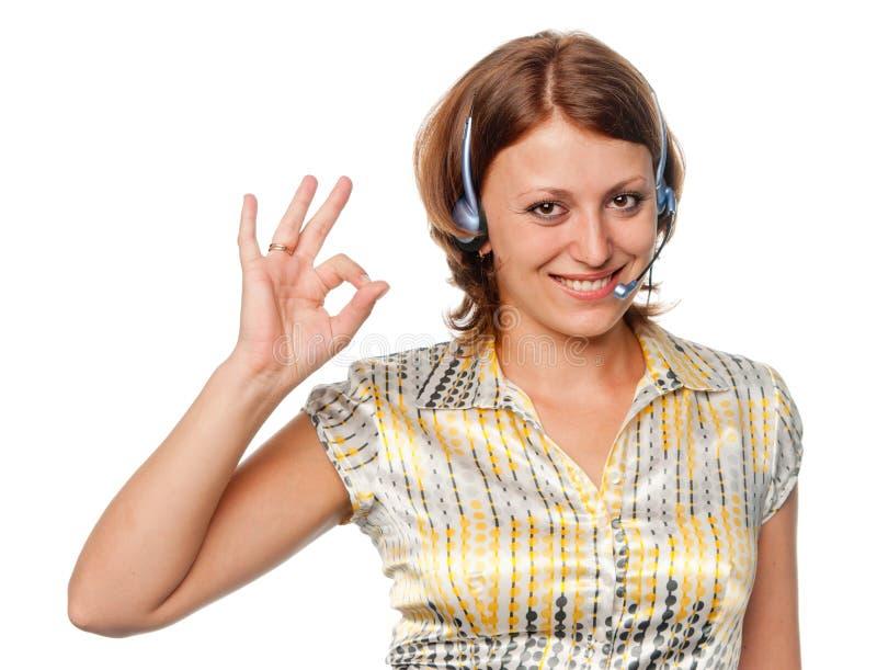 Девушка с наушниками и микрофоном стоковые изображения rf