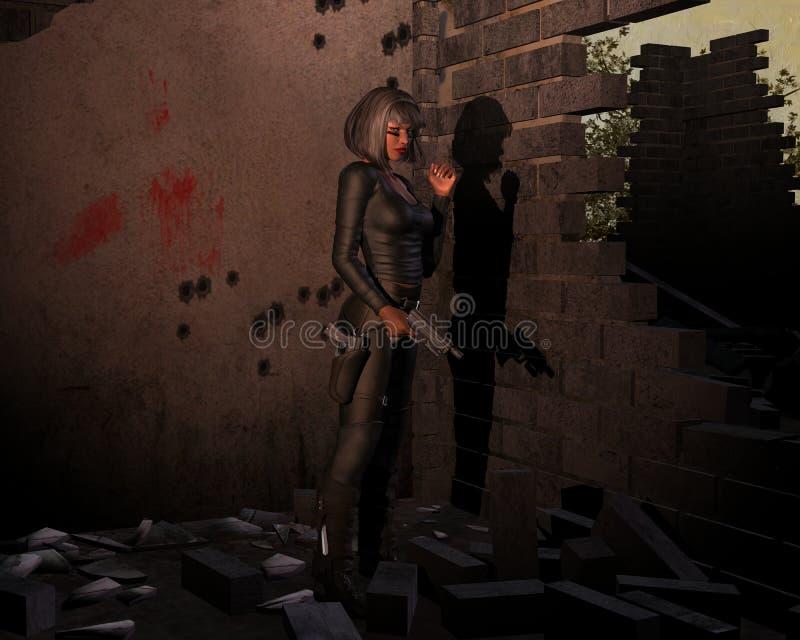 Девушка с оружием стоковая фотография rf
