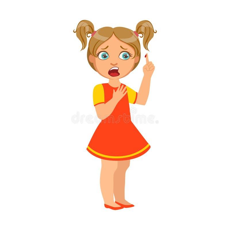 Девушка с отрезком пальца, больной ребенк чувствуя нездоровый из-за болезни, часть детей и серия проблем здоровья  иллюстрация вектора