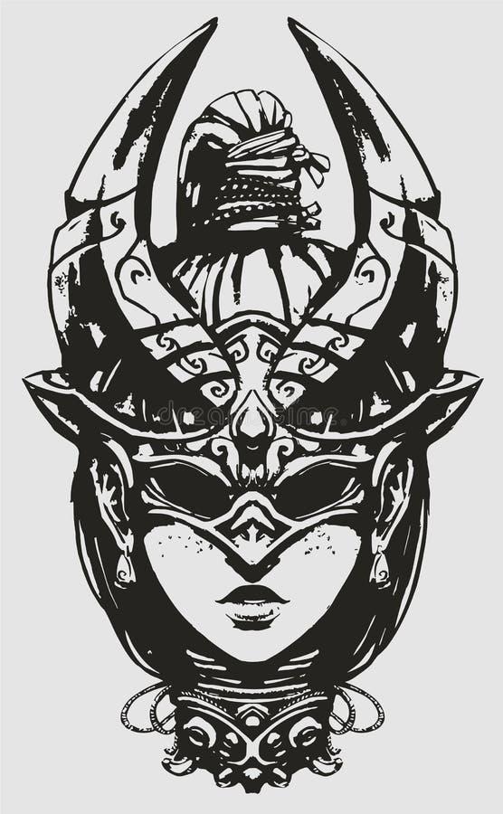 Девушка с отрезком провода, в необыкновенной маске, походя жук иллюстрация вектора