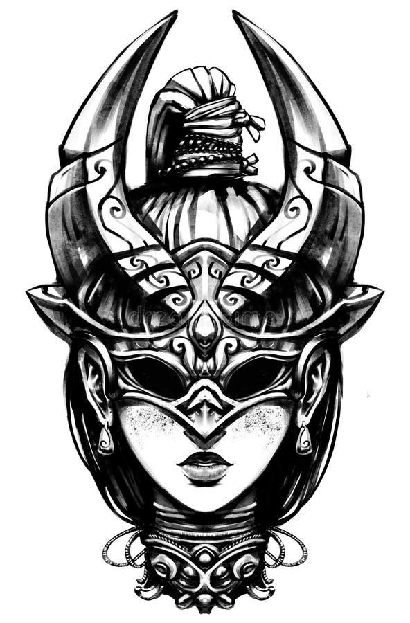 Девушка с отрезком провода иллюстрация штока