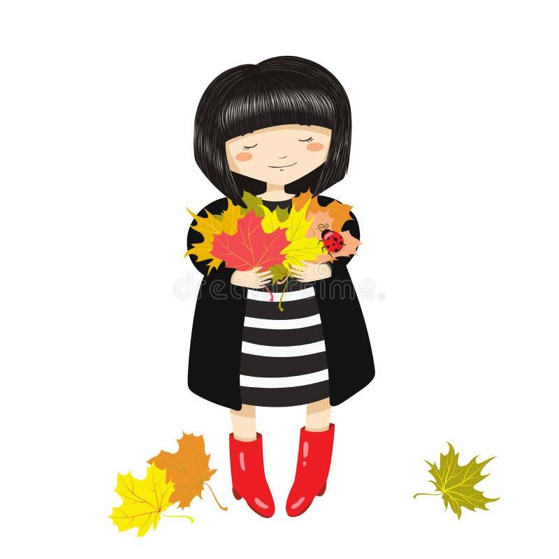 Девушка с пуком листьев осени бесплатная иллюстрация