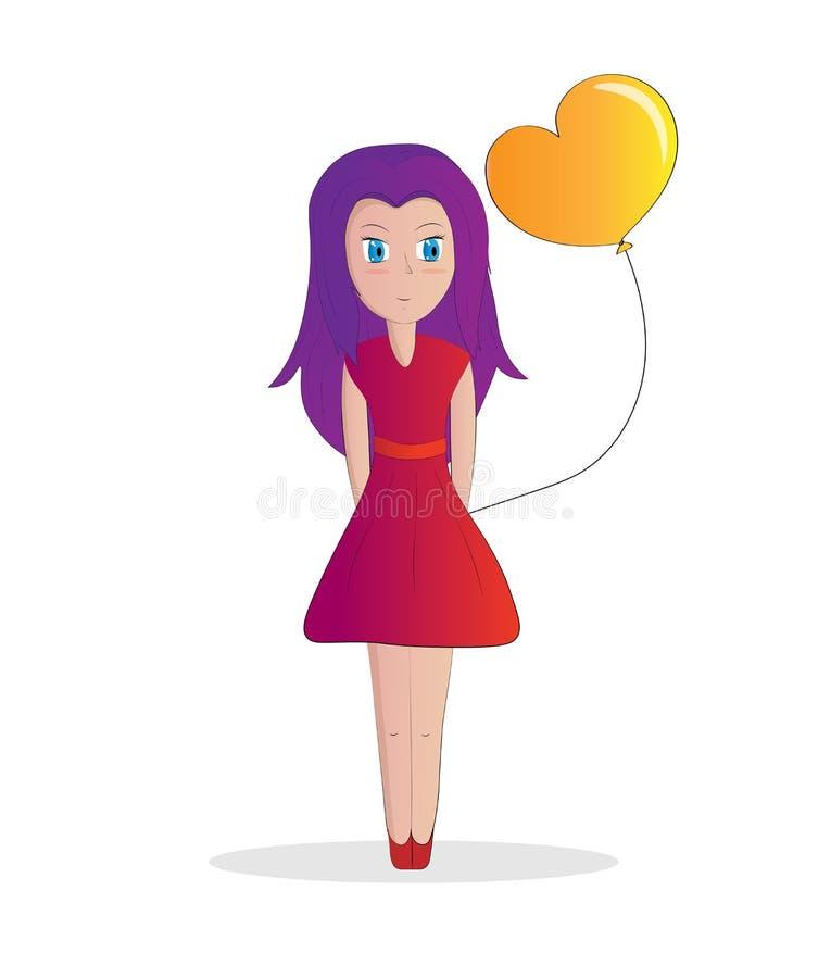 Девушка с пурпурными волосами иллюстрация штока