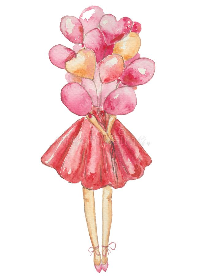 Девушка с розовыми воздушными шарами на белой предпосылке иллюстрация вектора