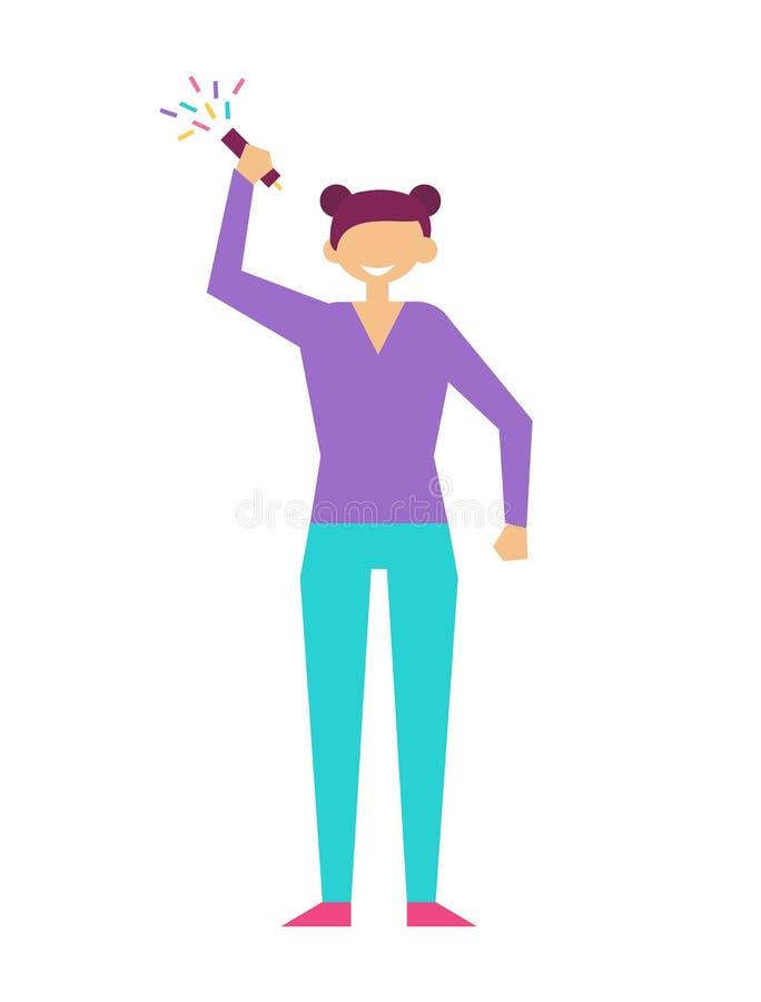 Девушка с рукой язычка празднует Новый Год дня рождения бесплатная иллюстрация