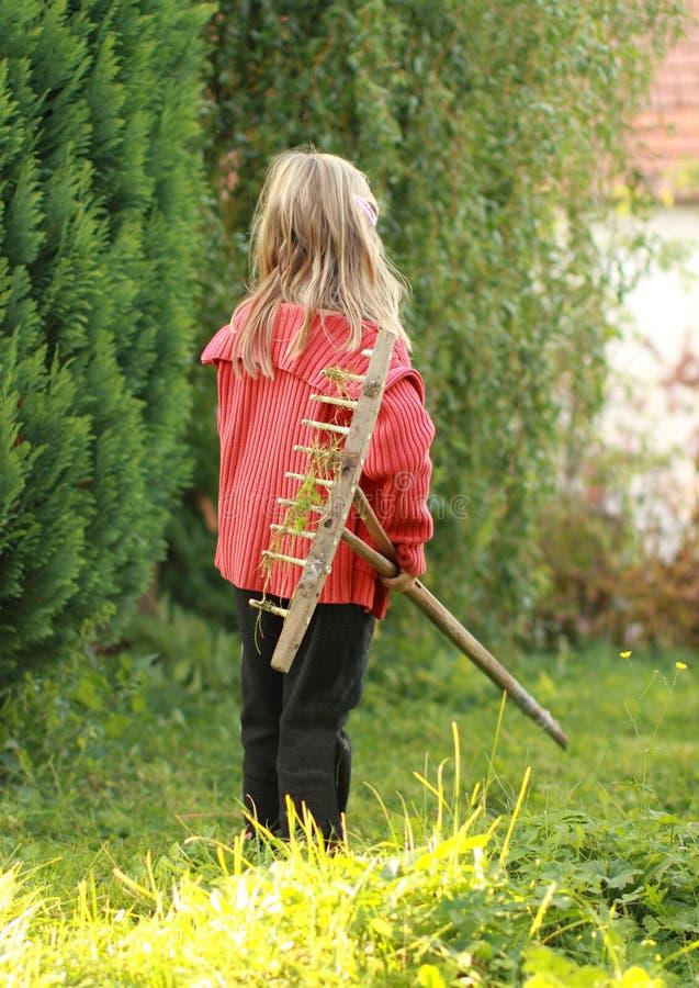 Девушка с сгребалкой стоковое фото