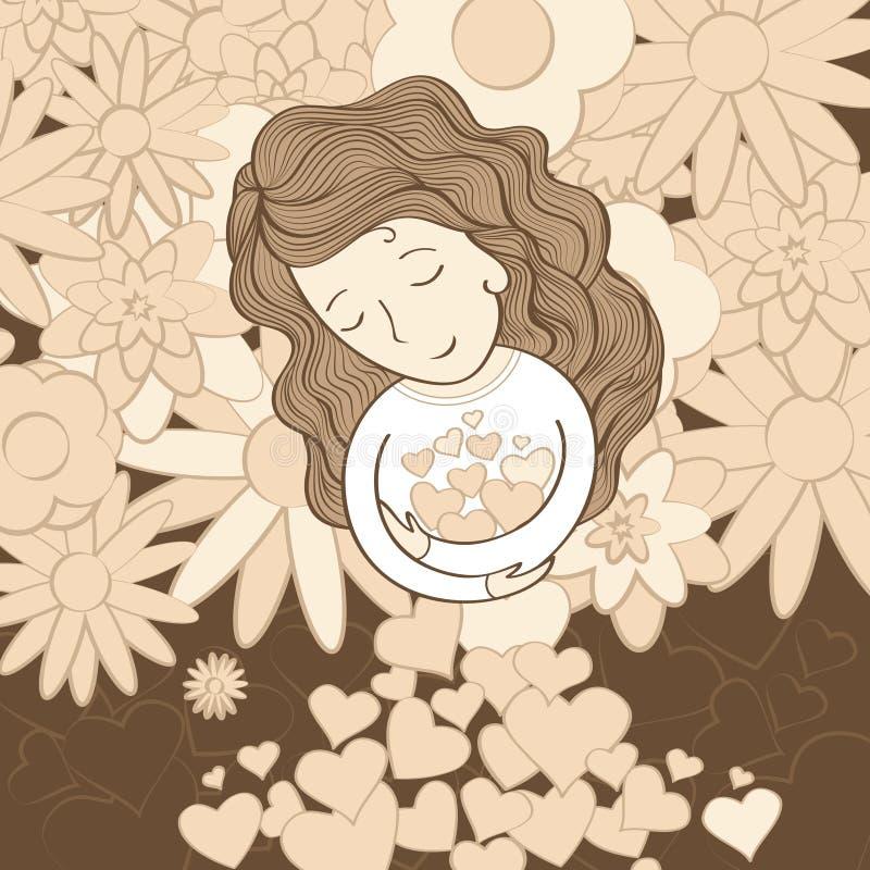 Девушка с сердцами стоковая фотография rf