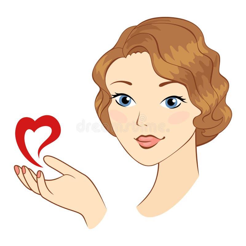 Девушка с символом сердца. иллюстрация вектора
