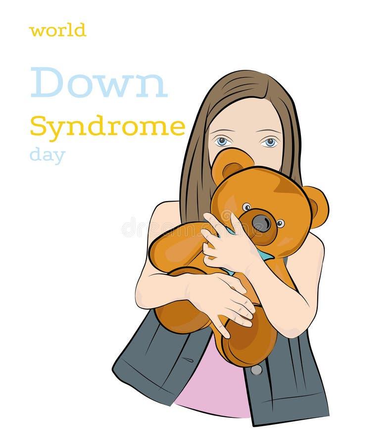 Девушка с Синдромом Дауна держит игрушку День Синдрома Дауна мира иллюстрация вектора