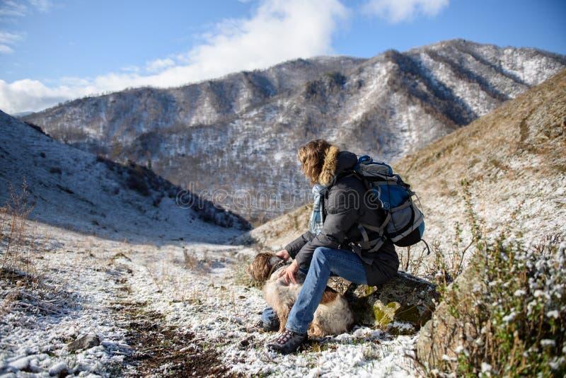 Девушка с собакой в горах стоковое фото rf