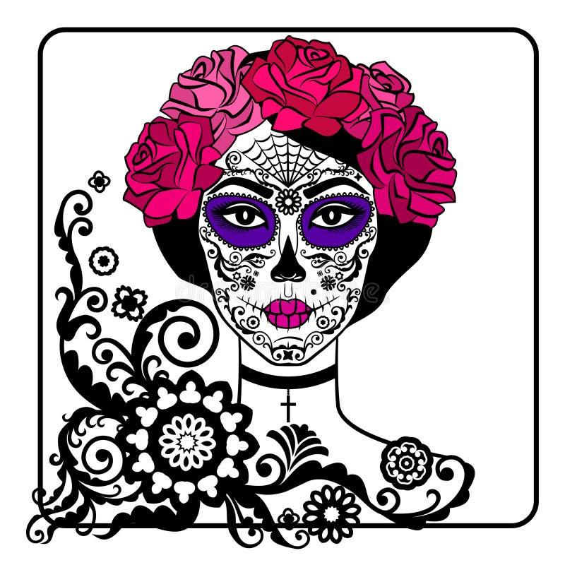 Девушка с составом черепа сахара Мексиканский день умерших иллюстрация штока