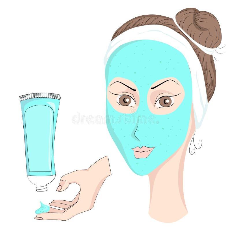 Девушка с составляет лицевой щиток гермошлема иллюстрация вектора