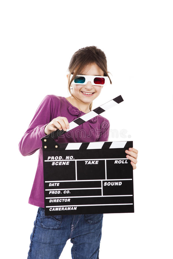 Девушка с стеклами 3D и clapboard стоковое фото
