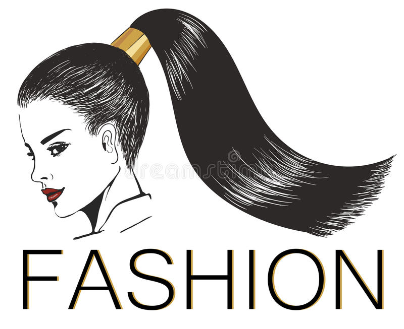 Девушка с стильным сияющим ponytail иллюстрация штока
