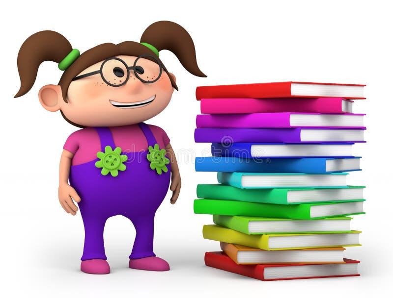 Девушка с стогом книг иллюстрация вектора