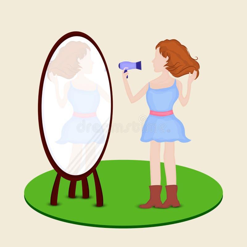 Девушка с сушильщиком и зеркалом дуновения бесплатная иллюстрация