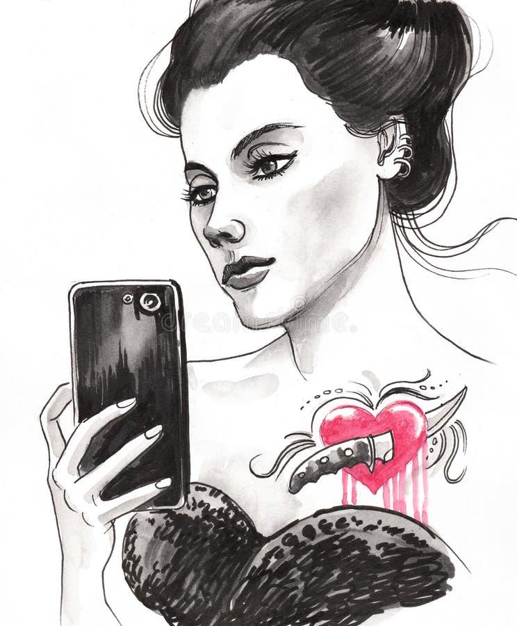 Девушка с татуировкой иллюстрация штока